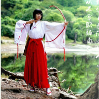 Inuyasha Anime Kikyou cosplay kimono Complete set cos Halloween party red kimono full set 3in1(Top+Pants+belt)