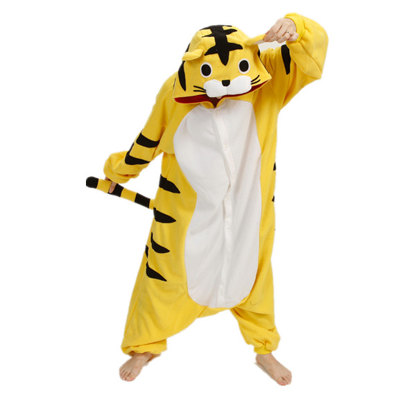 2015 Winter Christmas Adult Costumes Pajamas One Pyjama Animal Suit White Yellow Tiger Onesies 2 Styles - Max-Online store