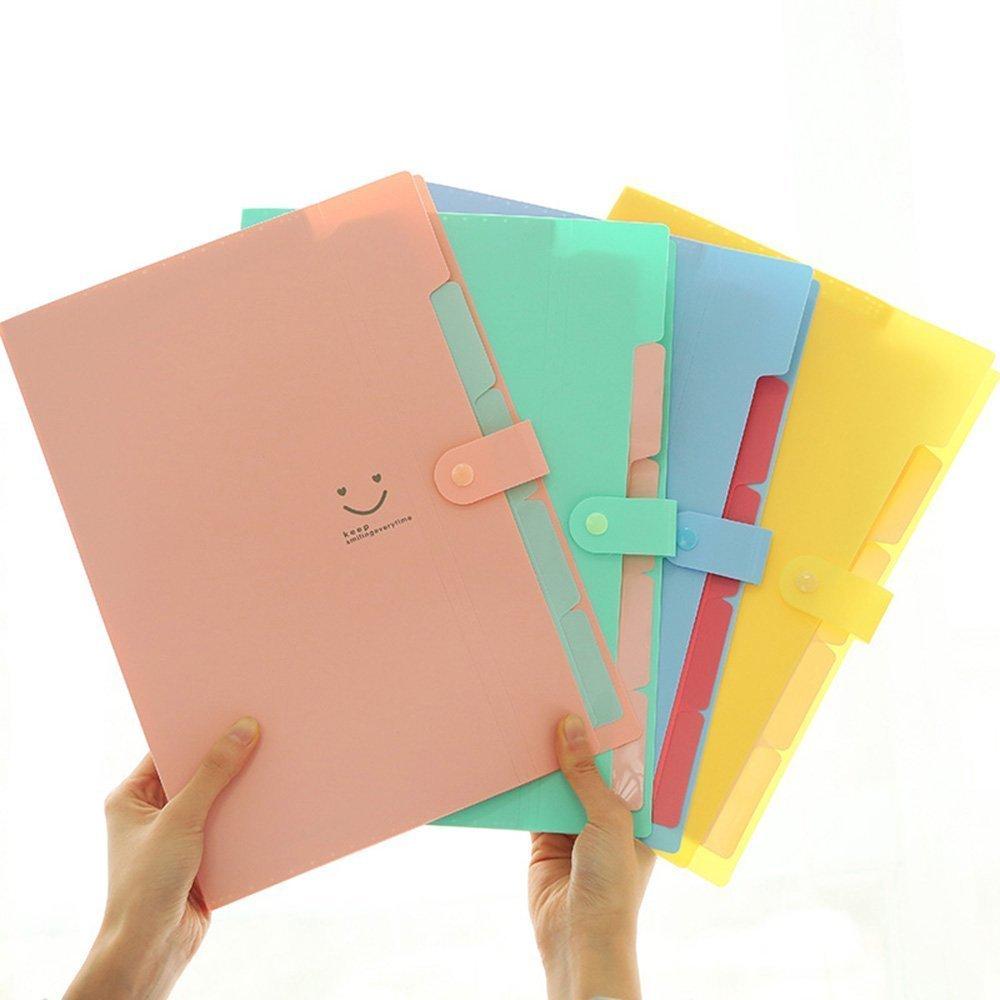 5 Pockets Plastic Expanding File Folders A4 Letter Size Snap Closure Paper Organizer Set Of 4 Multicolored
