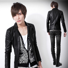 Black Autumn Winter 2014 New Korean Fashion Slim Men'S Leather Jacket Cotton Male Casual Leather Blazer Suit Jacket S-XXL D2762