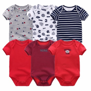 Baby bodysuits short sleeve 6 pcs/lot for 0-12M baby 2