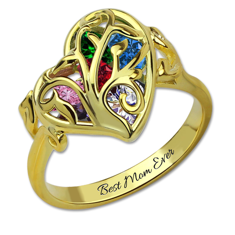 Personalized Family Tree Ring Birthstone Gold Color Cage Ring Tree of Life Engraved Rings For Women 6pcs of stylish color glazed round rings for women