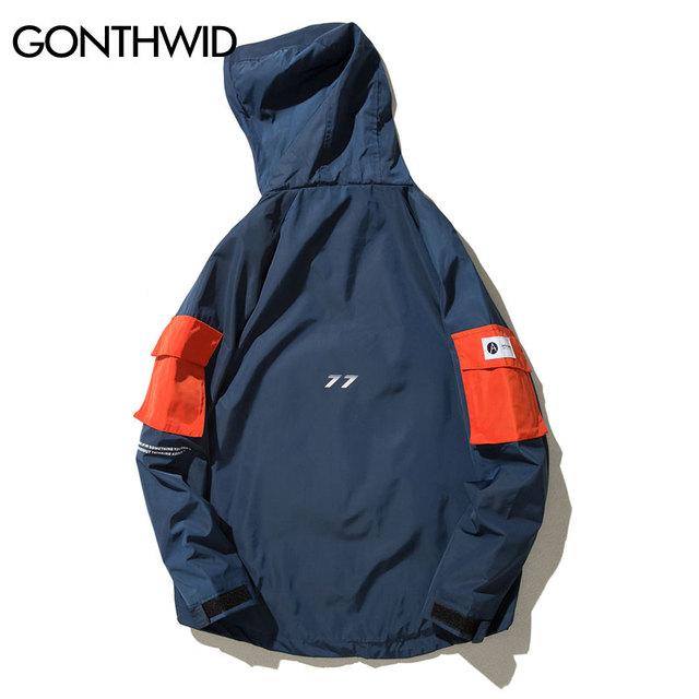 Front Pocket Pullover Jackets Men 2019 Autumn Half Zipper Hoodie Jacket Male Hip Hop Casual Windbreaker Coat Streetwear