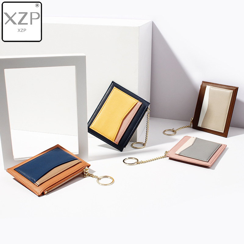 XZP Women Korean Version Of The Mosaic Cute Student Wallet Multi-card Zipper Card ID Holders Package Keychain Small Wallet Purse