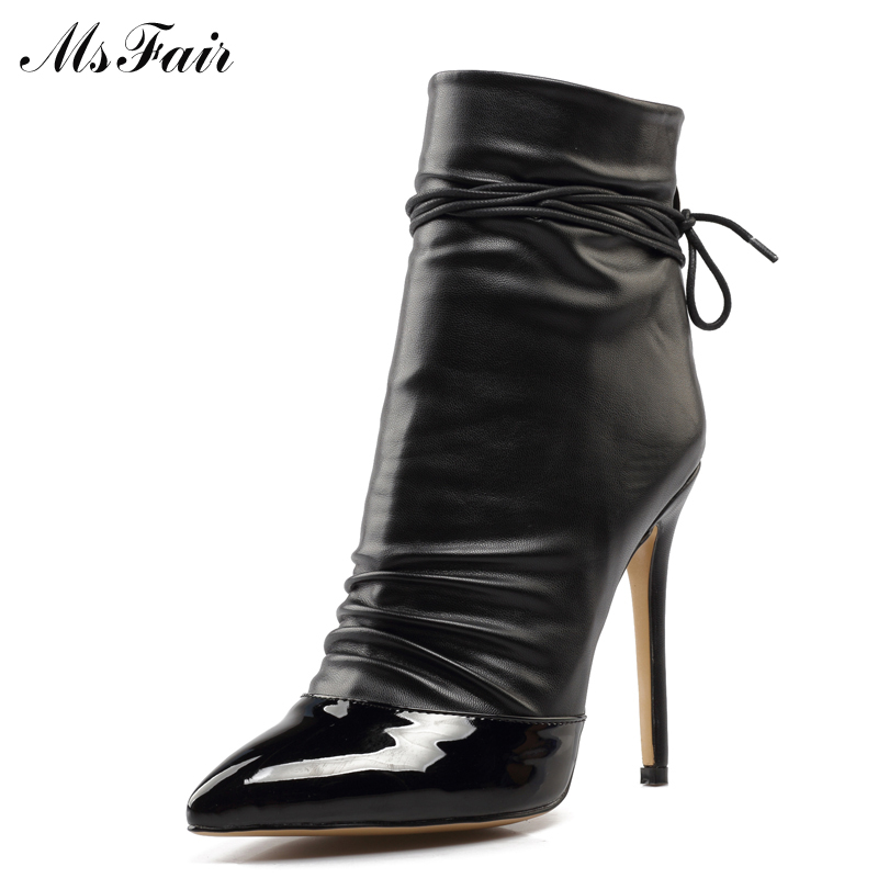 MSFAIR Ankle Strap Women Ankle Boot Pointed Toe Thin Heels High Heels Ladies Girl Zipper Ankle Boot New Solid Winter Women Boots