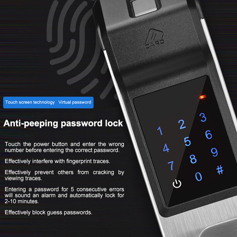 Fechadura da porta inteligente impressão digital/senha digital/chave/ic cartão 4 em 1 eletrônico fechaduras inteligentes para casa escritório apartamento - 3