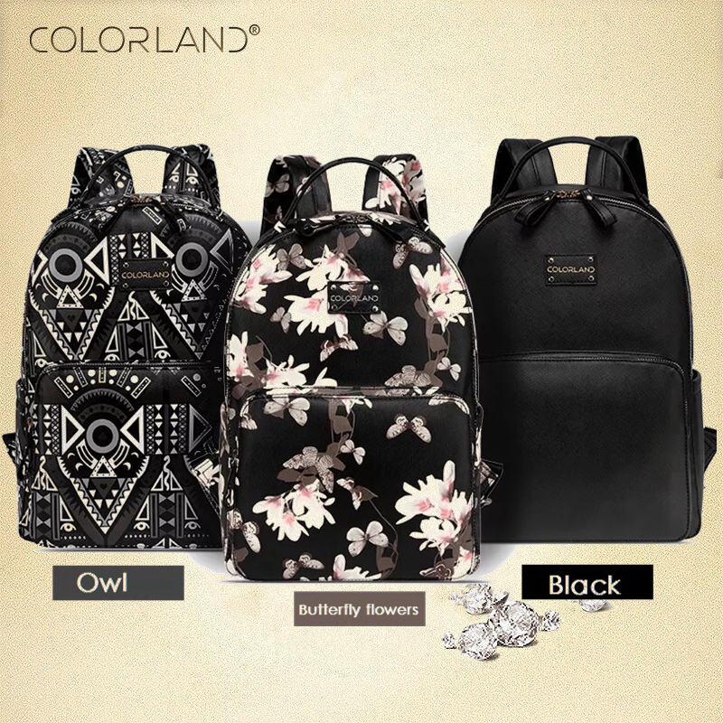 COLORLAND PU Backpack Diaper Bag Waterproof Multifunctional Nappy Bags Maternity Changing Bag Wet Infant For Mommy Daddy