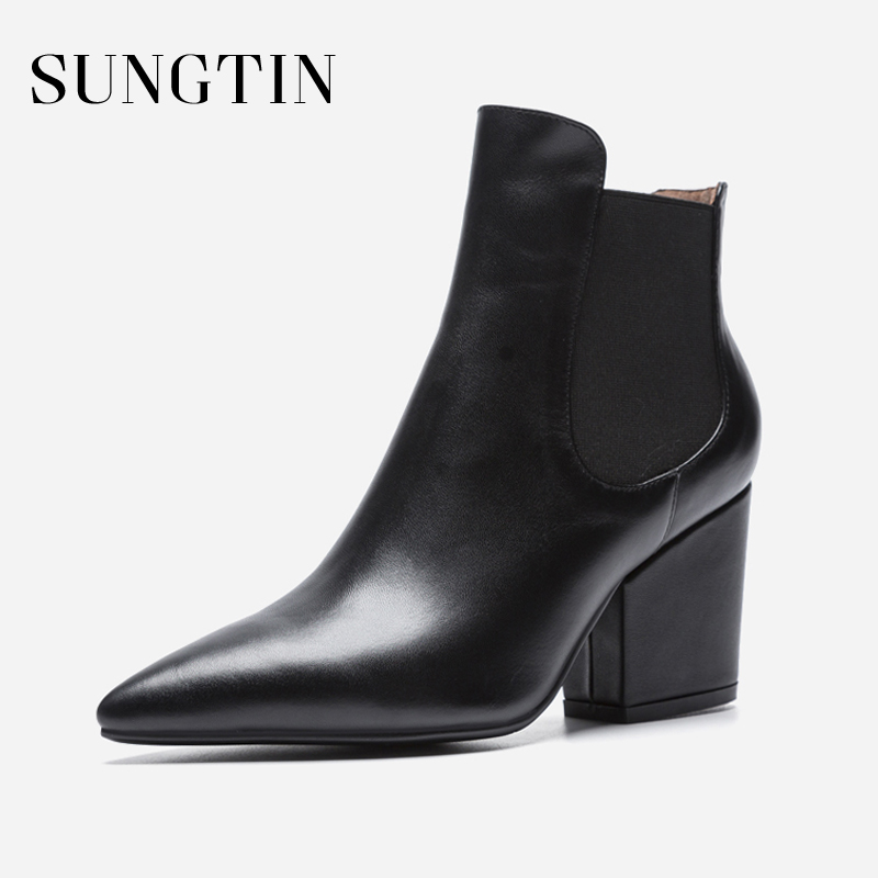 Sungtin Pointed Toe Genuine Leather Chelsea Boots Women Thick Heels Ankle Boots Ladies Suede Woman Short Spring Autumn Boots martine women ankle boots flat with chelsea boots for ladies spring and autumn female suede leather slip on fashion boots
