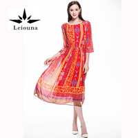 Leiouna Fashion Real 100 Silk Round Neck Pattern Leaf Printed A Line Maxi Boho Red Bohemian