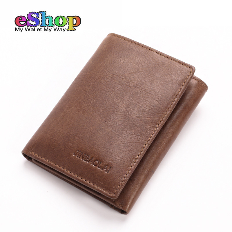 Original Brand JINBAOLAI Genuine Leather Wallet Men Vintage Short Tri-folds Male Card Purse Designer Cow Leather Mens Wallets ms brand men wallets dollar price purse genuine leather wallet card holder designer vintage wallet high quality tw1602 3