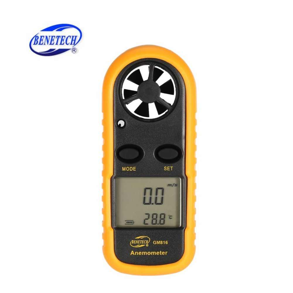 BENETECH GM816 Digital Fluxo de Ar Anemômetro Termômetro Velocidade Do Vento Air Velocity Medidor de Temperatura Windmeter com LCD Backlight HOT