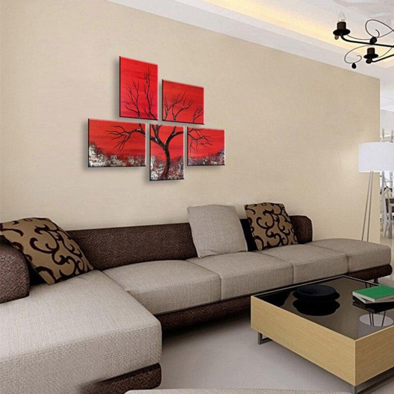 5 Painel Pictures Modern Wall Art Home Decor Mão Pintado Abstrato Pintura A  Óleo Handmade Pinturas Acrílicas Árvores Papel De Parede Vermelho Em  Pintura ...