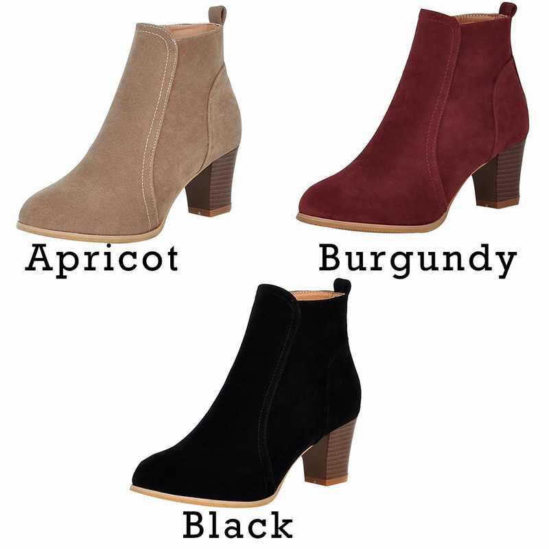 חדש קלאסי נשים קרסול מגפי חורף נשי נשים סתיו נעליים יומיומיות אמצע העקב זמש לשפשף חם גבירותיי נעלי פאטאל