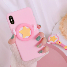Phone Case Finger Holder for Coque X 8 7 Plus Cute Candy colors Girls Patterned Back Cover For Ipone XS Max XR Pink Cases
