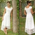 Longitud de Té Blanco de Alta Baja Encaje vestido de renda 2016 Vestidos de Boda Cap Mangas Vestidos de La Boda Modesta Vestidos Nupciales Elegantes