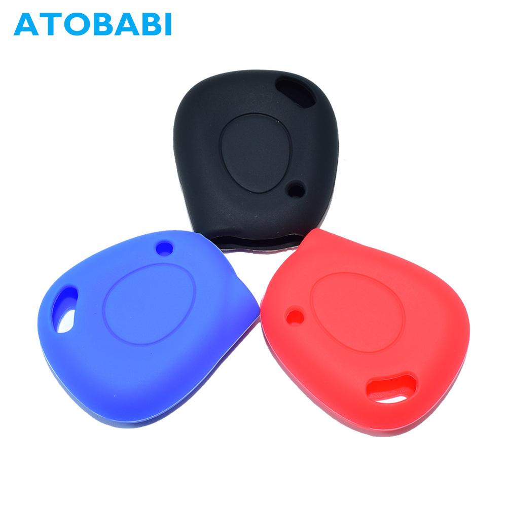 1 Buttons Silicone Car Key Case Remote Fob Shell Cover Holder Accessories For Renault Clio Espace Laguna Keychain Protector Bag
