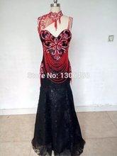 Abendkleider Kristall 2015 Echt Bild Schwarz Und Rot Spitze Vintage Abschlussball-kleid Elegantes Abendkleid Hohe Qualität