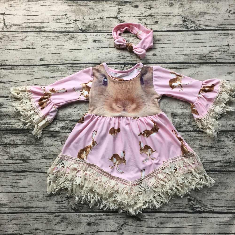 c0df2613966e 2017 new free shipping baby girls Easter bunny dress lace dress girls long  sleeve dress with