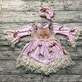 2017 новая бесплатная доставка новорожденных девочек Пасхальный кролик кружевном платье платье девушки с длинным рукавом платье с соответствующими оголовье указан