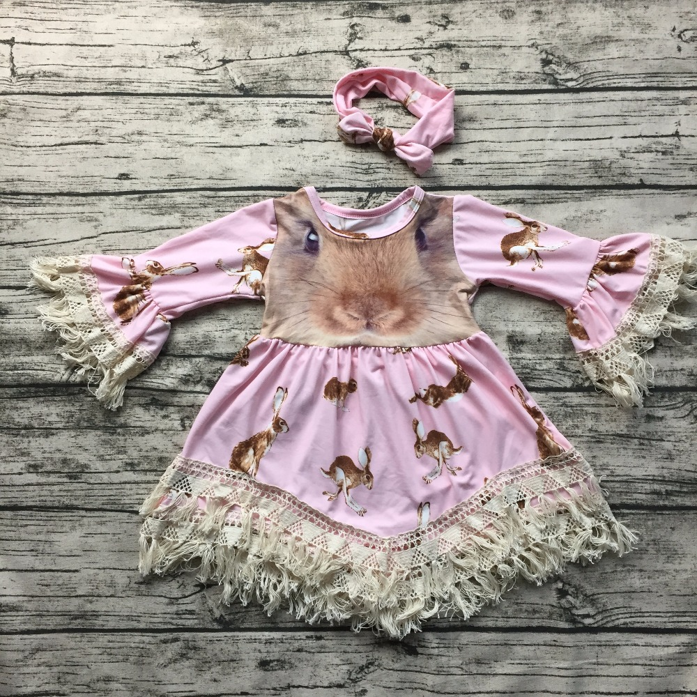 2017 New Free Shipping Baby Girls Easter Bunny Dress Lace Dress
