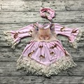 2017 new free shipping baby girls Easter bunny dress lace dress girls long sleeve dress with matching headband set
