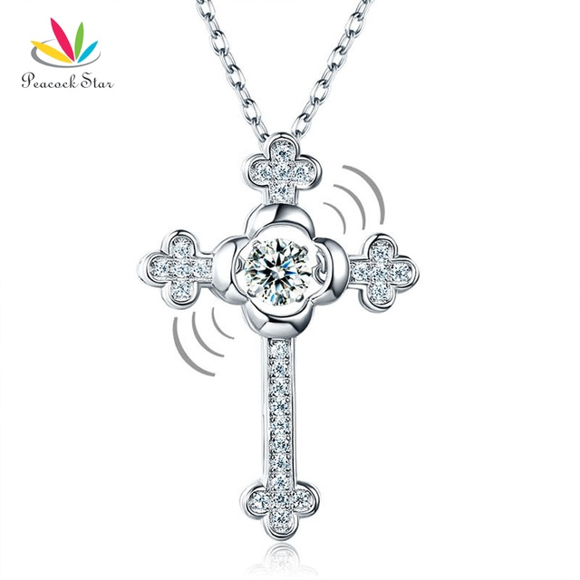 Peacock star dancing stone cross pendant necklace solid 925 sterling peacock star dancing stone cross pendant necklace solid 925 sterling silver vintage style gothic cfn8048 aloadofball Image collections