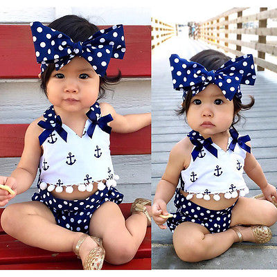 Print Anchors Polka Dot Girls Set + Headband Cute Baby Girls Clothes Anchors Tops+Polka Dot Briefs+Headband 3pcs Outfits Set 3pcs outfit infantil girls clothes toddler baby girl plaid ruffled tops kids girls denim shorts cute headband summer outfits set
