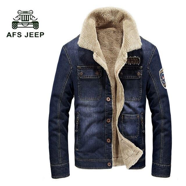 Retro denim jaket pria kerah bulu menebal tahan dr jaket jins denim mantel  merek pakaian pria mantel jaket hangat jaket 137z 5dad7e5ec9