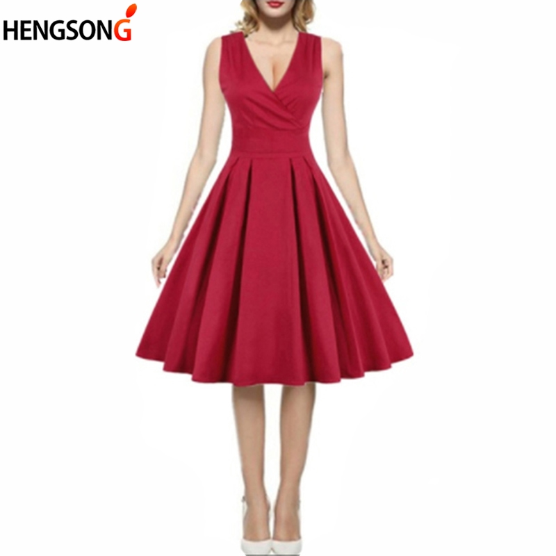 Summer Dresses Women Sexy Deep V Neck High Waist Vintage Party Dress Solid Color Knee Length Ball Gown Pleated Dress Vestidos