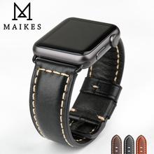 MAIKES Watch Accessories Genuine Leather Watchband For Apple Watch Strap 44mm 40mm iWatch Apple Watch Band 42mm 38mm Series 4-1 maikes black genuine leather watchband apple watch accessories watch band 44mm 40mm for apple watch strap 42mm 38mm iwatch