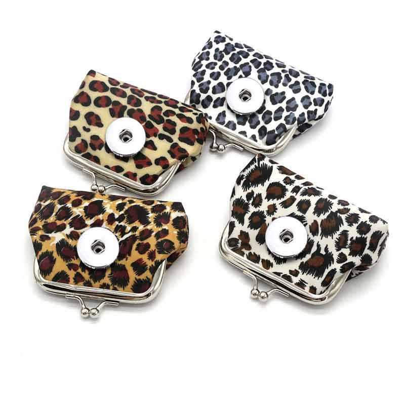 Luipaard Print Mini 020 Stof Lederen 18Mm Drukknoop Kids Vrouwen Bag Charms Sleutelhanger Key Ringen Purse Sleutelhangers sieraden