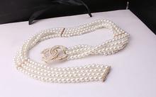 Noble White Pearls Waist Belts Rhinestone Buckles Elastic Waistbands Women's Multi Layer Decorative Ceintures os848