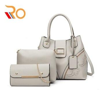 2019 Luxury Women Handbag Leather Female Shoulder Bags 3 Sets Famous Brand Designer Ladies Messenger Bags Casual Tote Sac A Main