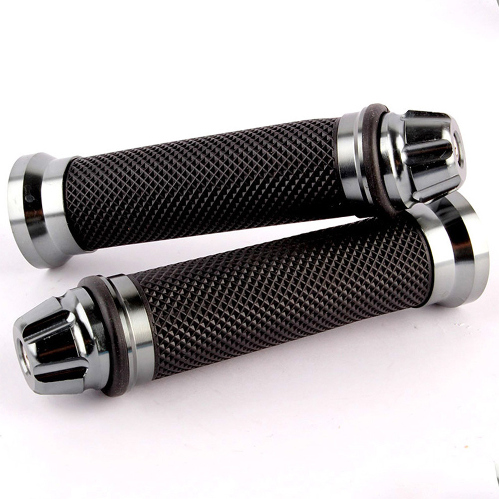 "Motorcycle 7/8"" Hand Bar <font><b>Grips</b></font> Gray Bike Handlebar Cafe Racer Bobber Clubman Custom"
