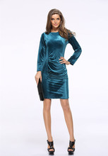 Women's Long Sleeve Bodycon Casual Midi Dress 4 Colors Evening Party Pencil Velvet Dresses Elegant office dress