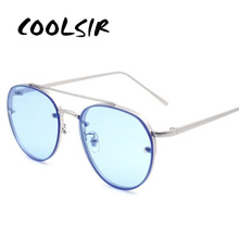 COOLSIR New Clear Lens Round Women Fashion Sunglasses Men Vintage Brand Designer Double Beam Sun Glasses Ladies Female 2019