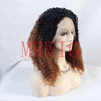 MRWIG short dark roots 1b#/#30 auburn hair color synthetic wig free part natural looking 22in real hair for woman