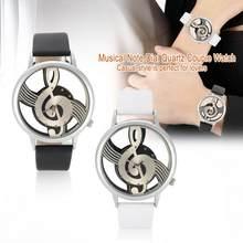 Reloj analógico de cuarzo de 2 colores para parejas, reloj de pulsera con correa de PU con esfera de nota Musical hueca redonda