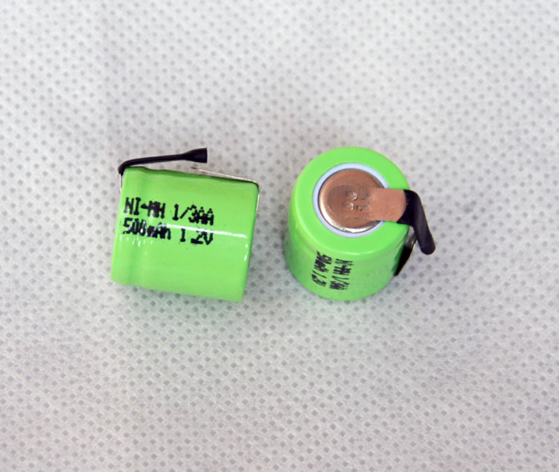2PCS/lot 1.2V 1/3AA 500mAh Ni-Mh Nimh 1/3 AA Rechargeable Battery cell with welding feet leg pins tab flat top