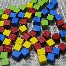 20 деревянных кубиков для настольной игры, аксессуары, красный, желтый, синий, зеленый, оранжевый, фиолетовый