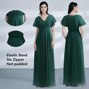 Image 3 - Fioletowe suknie wieczorowe Plus rozmiar elegancka linia szyfonowa długie suknie na imprezę dla pań tanie sukienki na specjalne okazje z rękawem