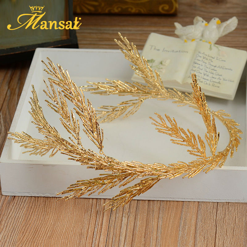 European Design Women Gold Hairband Baroque Style Bridal Tiara and Crown Luxurious Wedding Hair Jewelry Festival Gifts SG232