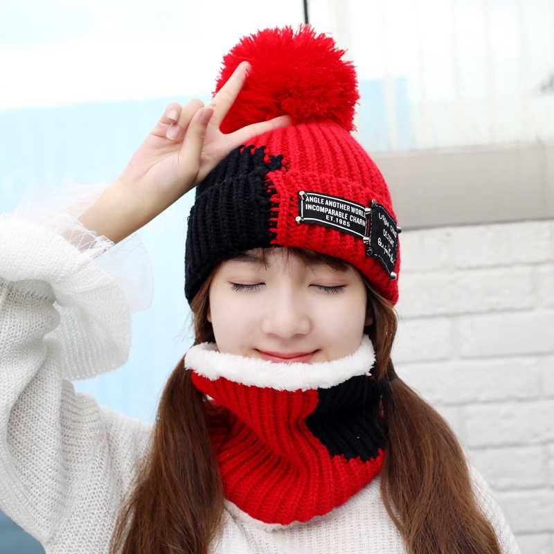 9359d8a7d07 ... Girl Ski Skullies Beanies Winter Hats For Women Knitting Hat Pompoms Ball  Warm Brand Casual Gorros ...