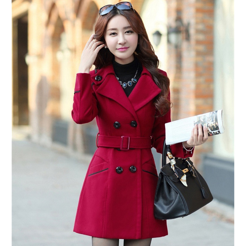 YAGENZ M-3XL Autumn Winter Wool Jacket Women Double Breasted Coats Elegant Overcoat Basic Coat Pockets Woolen Long Coat Top 200 1