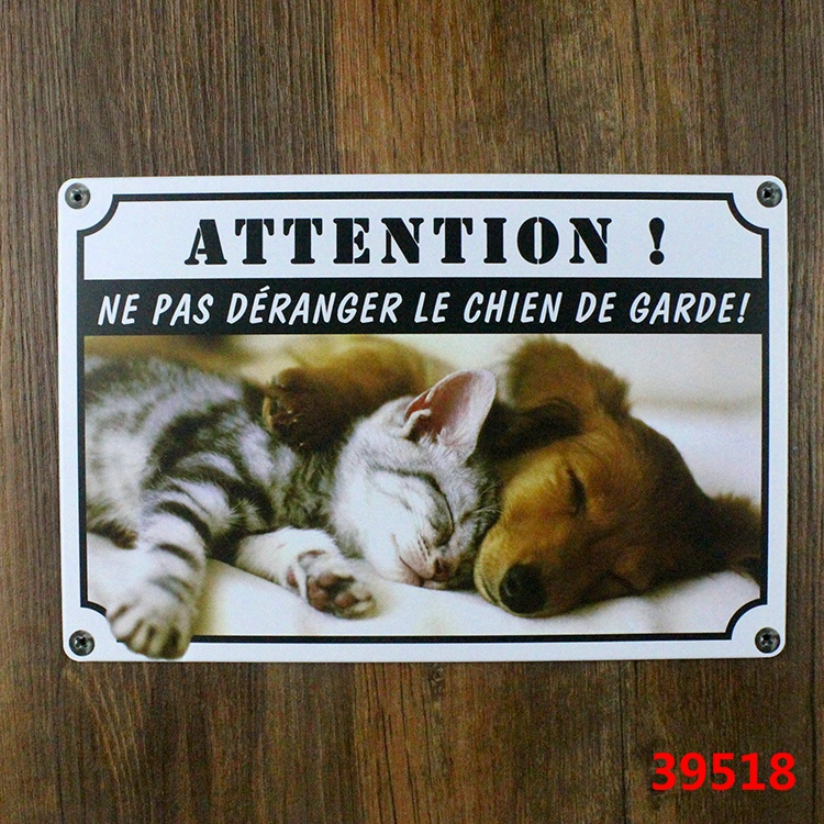 Us 499 Attention Ne Pas Deranger Le Chien De Garde Vintage Tin Signs Retro Metal Plate Painting Wall Decoration For Home And So On In Plaques