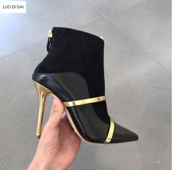 Mujer Noir Chaussons Fête Patchwork Cuir Chaussure Up Or 2019 Nouvelles En Bottes Sangles De Botas Zip Talon Femmes Automne Deux wYqOS