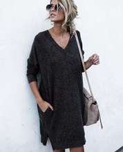 v-neck knit woman dresses spring autumn long sleeve solid black khaki pockets female