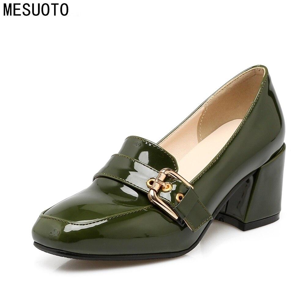 MESUOTO Spring Patent Leather Belt Slip On Elegant Women's Shoes Square Toe High Heels Woman Pumps Plus Size egonery spring air slip on round toe square low heels office women shoes pumps woman shoe plus size 40 43
