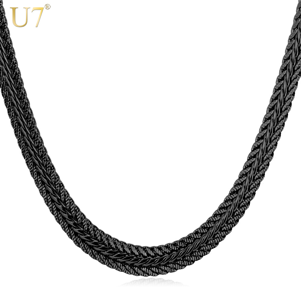 Zibbor men long necklace black trendy 6mm 6 size unique men long necklace black trendy 6mm 6 size unique foxtail chain necklaces pendants men fashion aloadofball Images