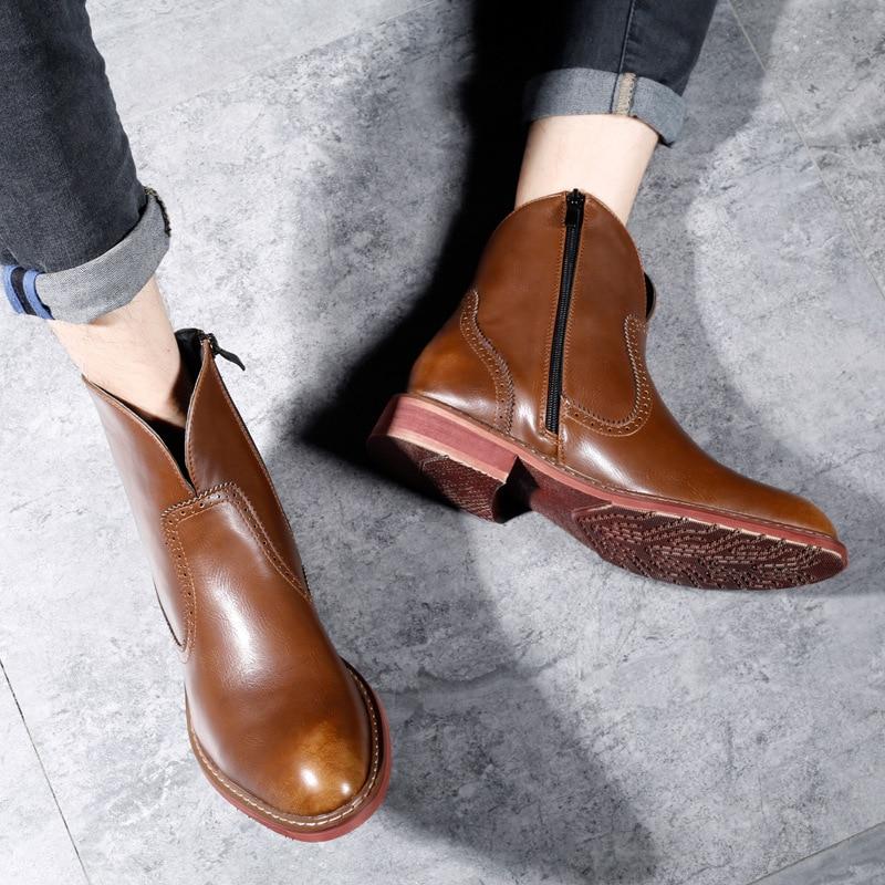 ผู้ชายรองเท้าฤดูใบไม้ร่วงฤดูหนาวใหม่ฤดูหนาวรองเท้าผู้ชายเชลซีรองเท้าหนังแท้รองเท้าข้อเท้าจริงหนังแท้-ใน รองเท้าบู๊ทเชลซี จาก รองเท้า บน   1